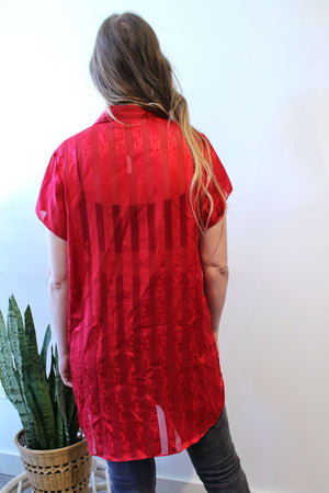 Red Tonal Stripe Buttondown Tunic