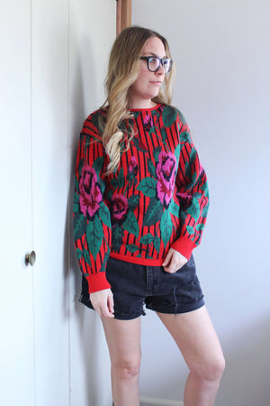 Red Rose Sweater - elizabeth o. vintage