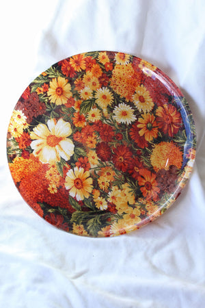 Red and Yellow Floral Plate