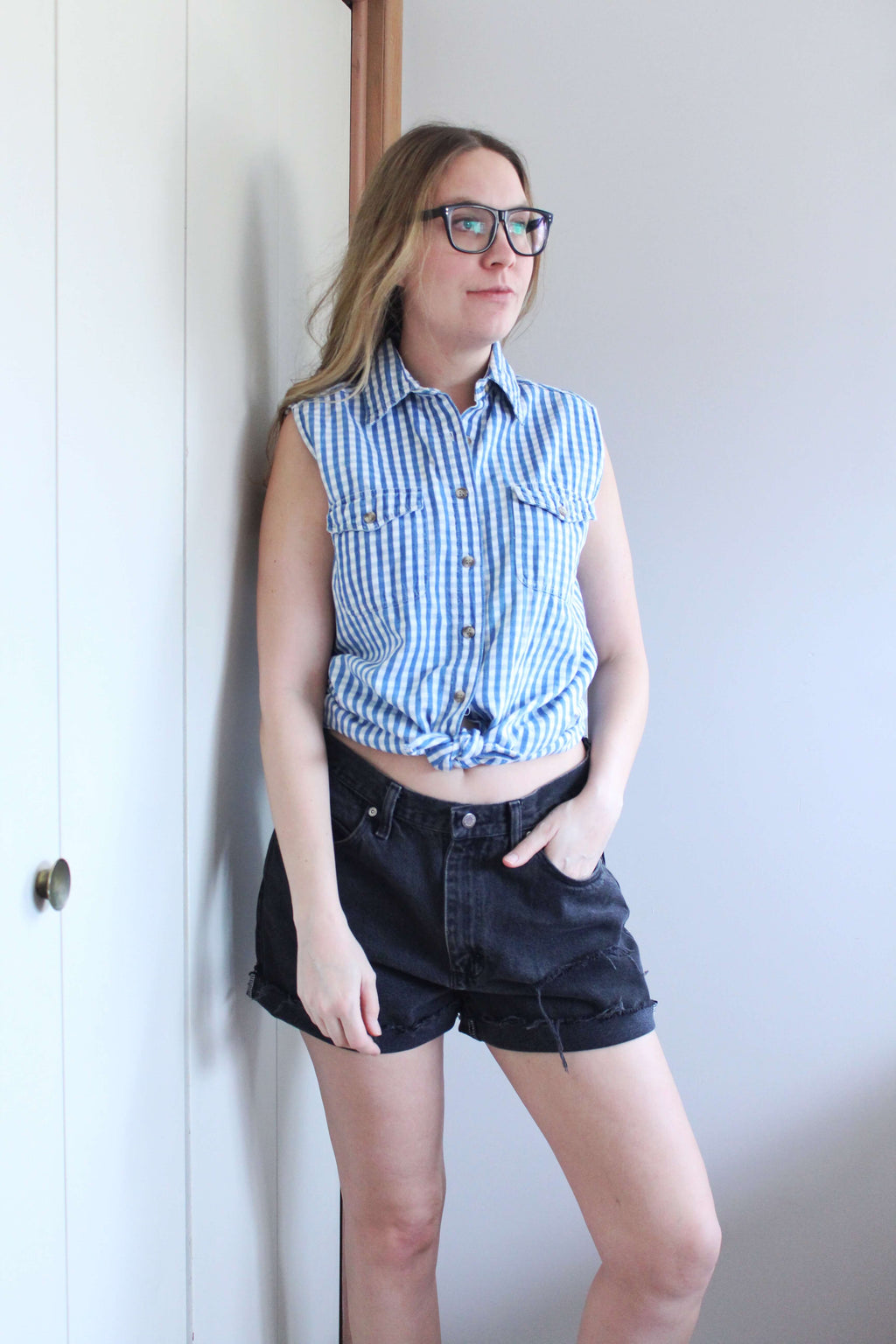 Sleeveless Blue and White Check Buttondown - elizabeth o. vintage