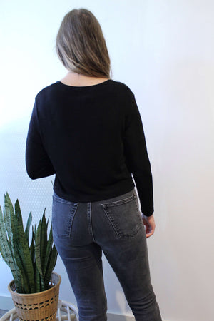 Slinky Black Top with Gold Buttons