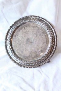Small Round Raised Silver Tray