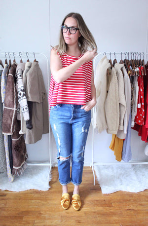 elizabeth o. vintage - Striped Oversized Tank