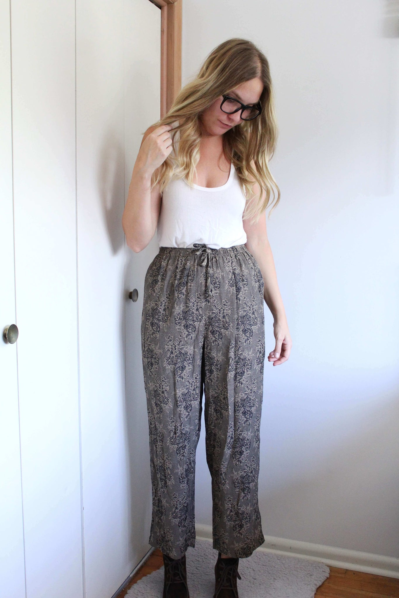 Tan and Black Flowy Pants