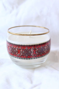 Thrifted Magic Candle Red Print Gold Rim Glass