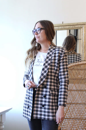 White, Black and Red Plaid Blazer