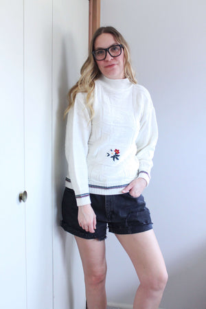 White Sweater with Christmas Pointsetta Embroidery - elizabeth o. vintage