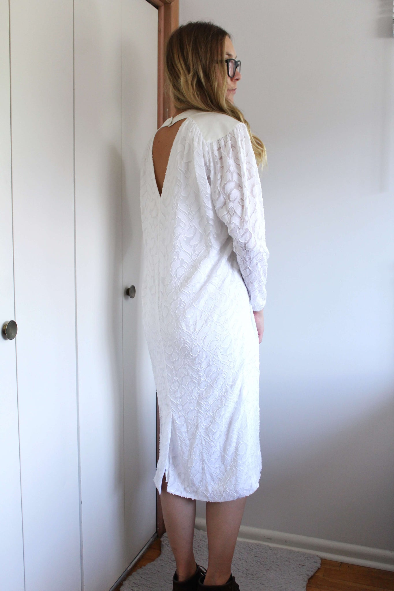 White Textured Dress - elizabeth o. vintage