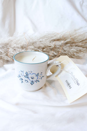 Thrifted Magic Candle White & Blue Mug