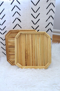 Bamboo Tray Set, Kitchen Decor, Room Decor, Living Room Decor - elizabeth o. vintage