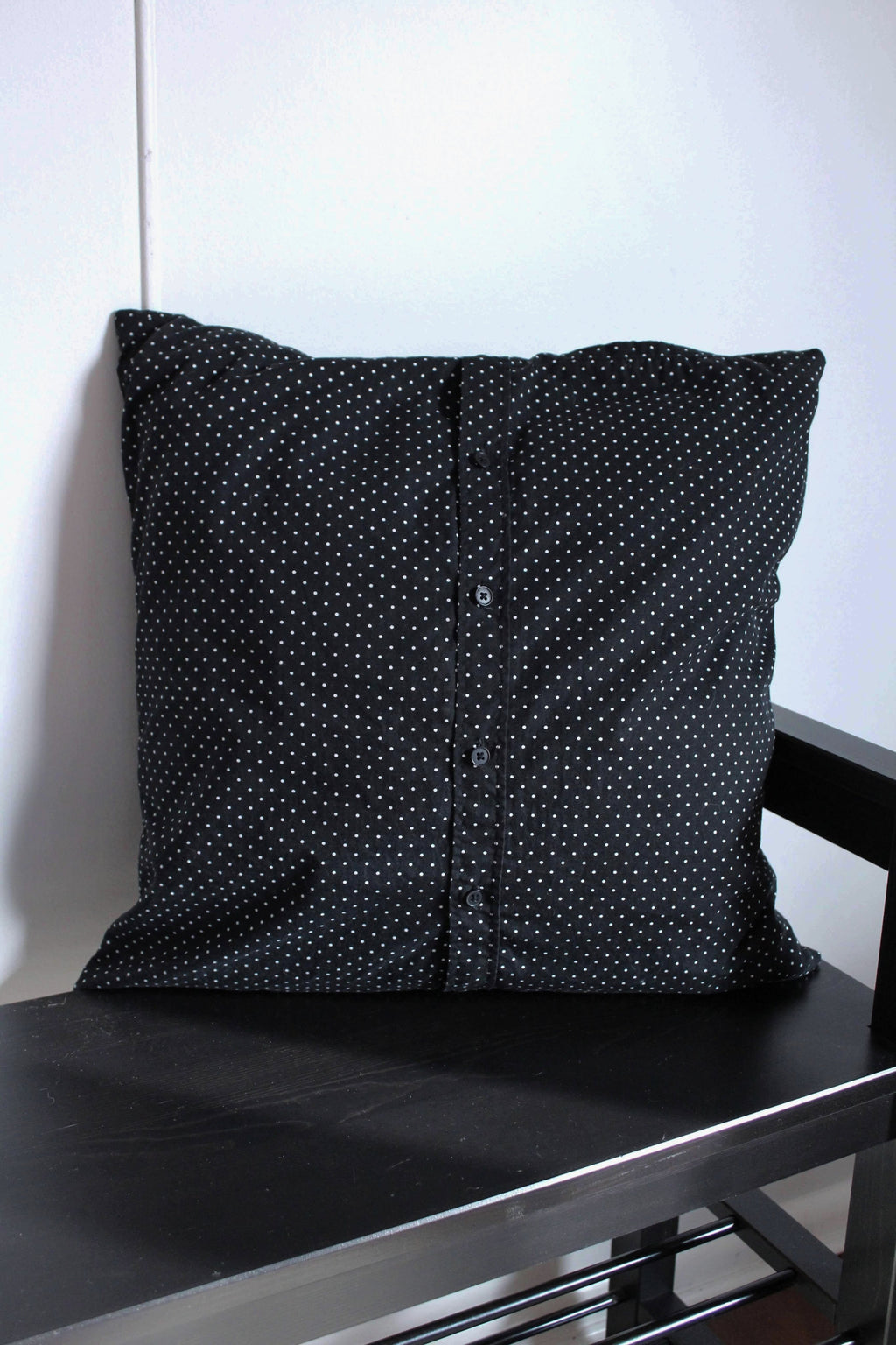 elizabeth o. vintage - Black Polka Dot Pillow