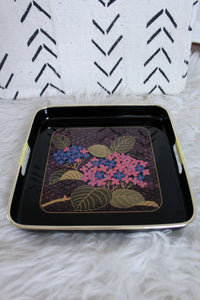 Black Tray with Pink Flowers and Gold Details - elizabeth o. vintage