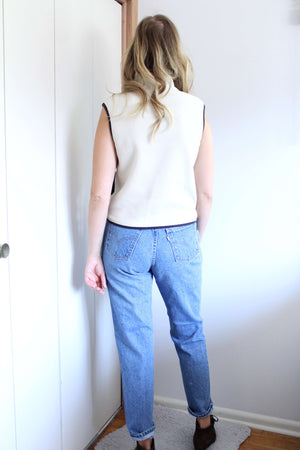 Cream Fleece Vest - elizabeth o. vintage
