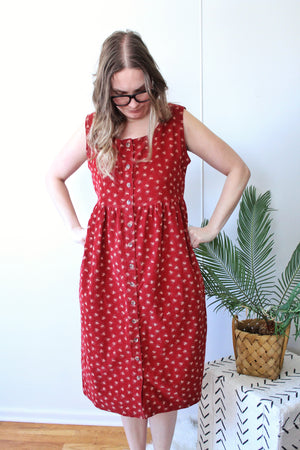 Red Ditsy Floral Dress