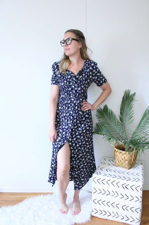 Floral Buttondown Dress Blue/Yellow