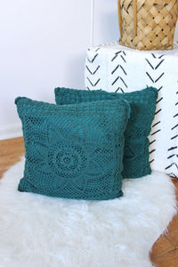 Green Crochet Pillow Set
