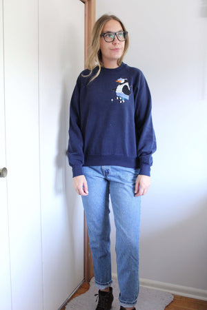 Navy Sweatshirt with Embroidered Penguin Playing Golf - elizabeth o. vintage