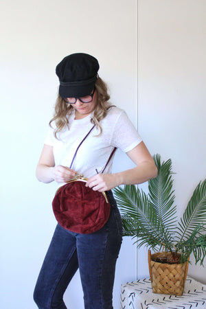 vintage oxblood suede purse