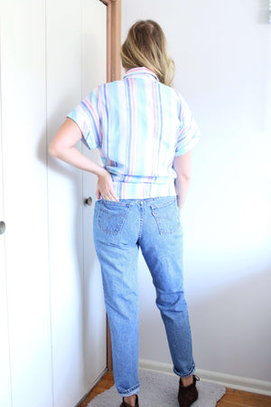 Pink and Blue Striped Button Down - elizabeth o. vintage