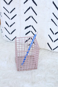 Pink Grid Pencil Holder