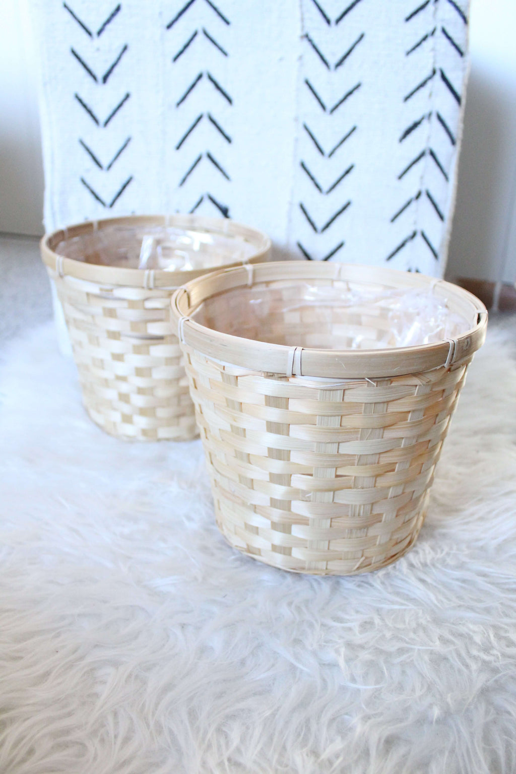 Plastic Lined Baskets set of 2
