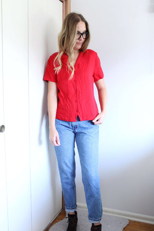 Red Buttondown Blouse - elizabeth o. vintage