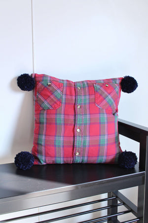 elizabeth o. vintage - Red Plaid Pillow