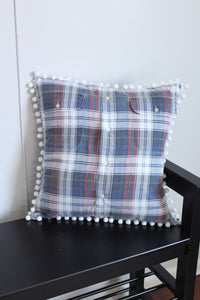 elizabeth o. vintage - White Plaid Pompom Pillow