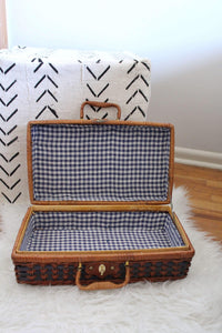 Wicker Picnic Basket, Kitchen Decor, Home Decor, Home Accessories - elizabeth o. vintage