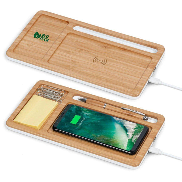 Bamboo Desk Organiser With Wireless Charger - Mirelle Leather and Lifestyle