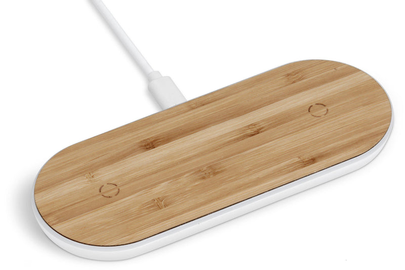 Bamboo Double Wireless Charger - Mirelle Leather and Lifestyle