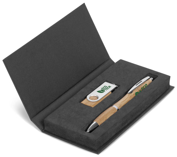 Bamboo Gift Set-Ink pen and USB-Mirelle Leather & Lifestyle