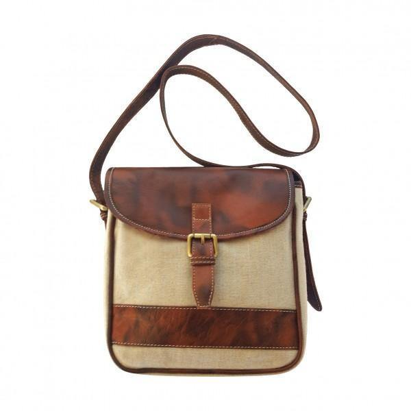 Canvas And Genuine Leather Messenger Bag - Mirelle Leather and Lifestyle