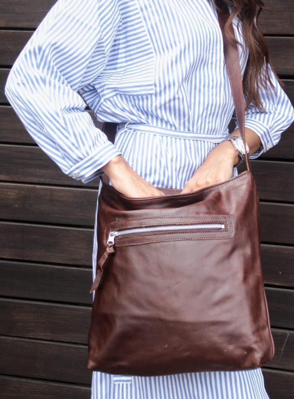 Emily Louise Genuine Leather Large Messenger Handbag - Tobacco - Mirelle Leather & Lifestyle