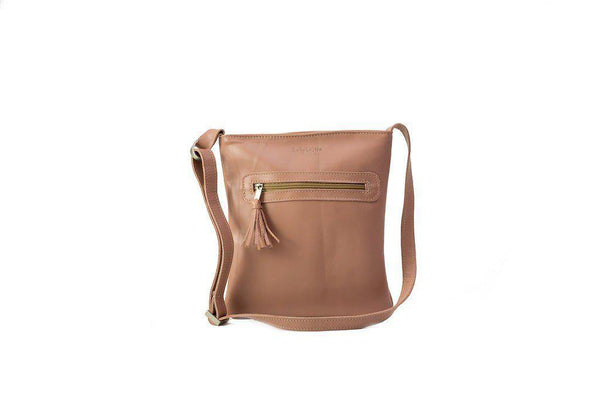 Emily Louise Small Leather Messenger - Dusty Pink - Mirelle Leather & Lifestyle