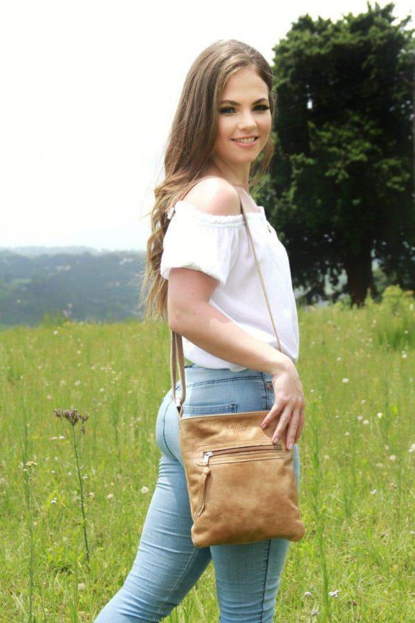 Emily Louise Small Messenger Handbag - Hazelnut - Mirelle Leather & Lifestyle