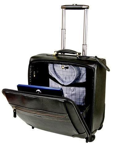 Genuiine Leather Spinner 4 Wheeler Trolley Laptop Bag - Mirelle Leather and Lifestyle