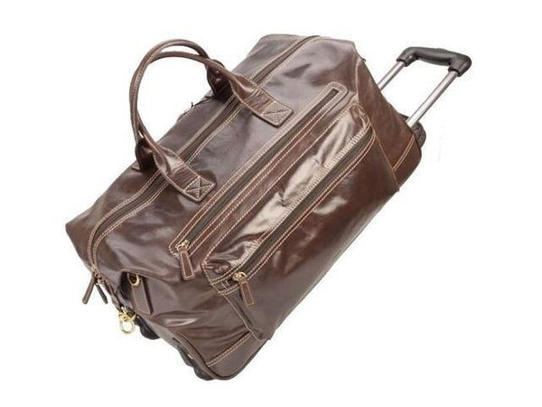 Genuine Dakota Leather Trolley Skyline Travel Bag - Mirelle Leather & Lifestyle