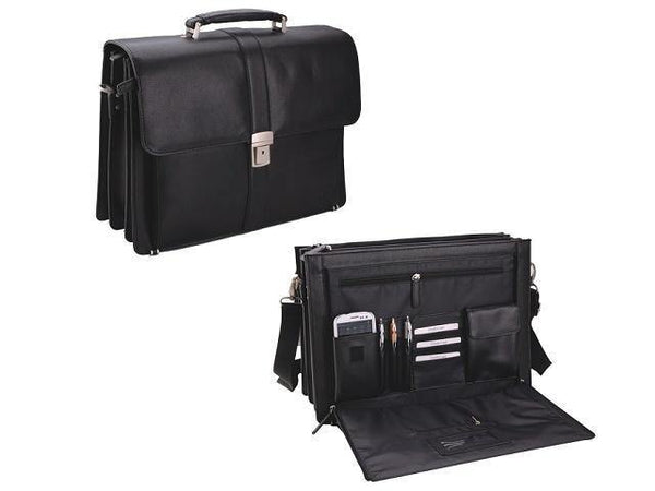 Genuine Leather Adpel 15.4 Inch Briefcase 3 Divisions - Black - Mirelle Leather and Lifestyle