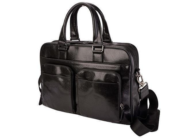 "Genuine Leather Amalfi 15"" Laptop Bag - Black - Mirelle Leather and Lifestyle"
