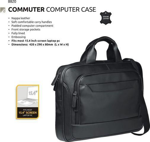 Genuine Leather Computer Bag - Black - Mirelle Leather & Lifestyle