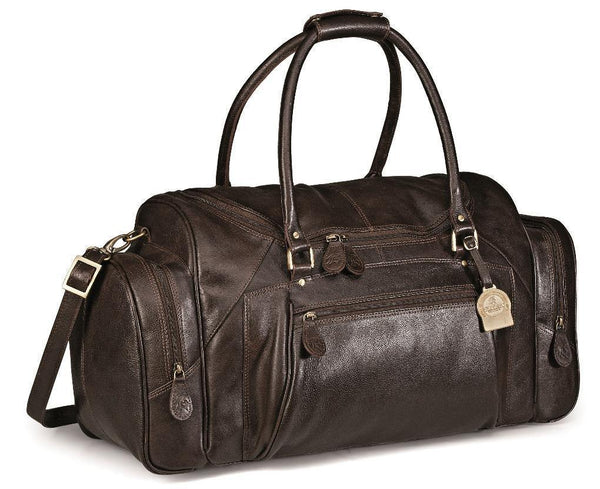 Genuine Leather Elegant Weekend Bag - Brown - Mirelle Leather & Lifestyle