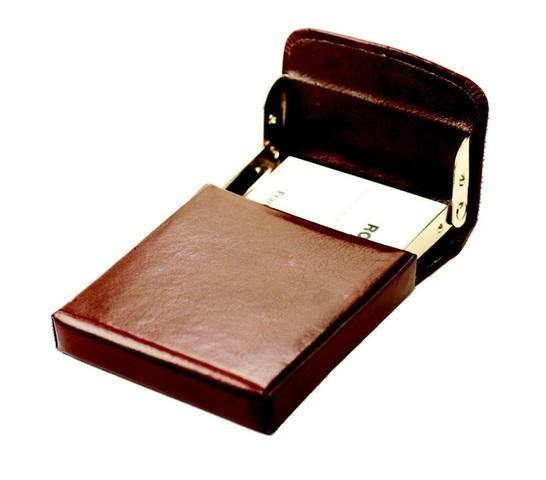 Genuine Leather Flip-up Business Card Holder - Mirelle Leather & Lifestyle