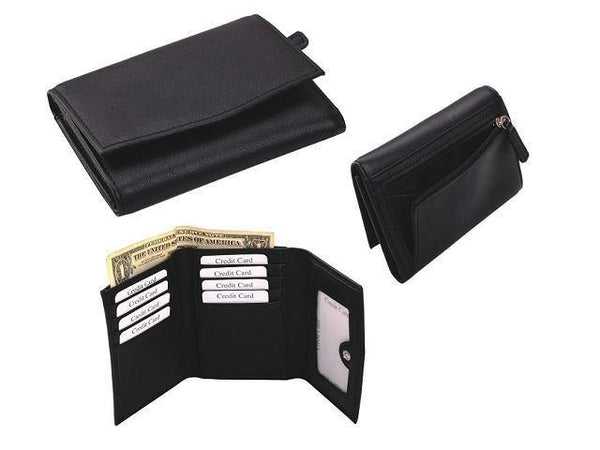 Genuine Leather Ladies Tri-Fold Purse with Press Button - Mirelle Leather & Lifestyle