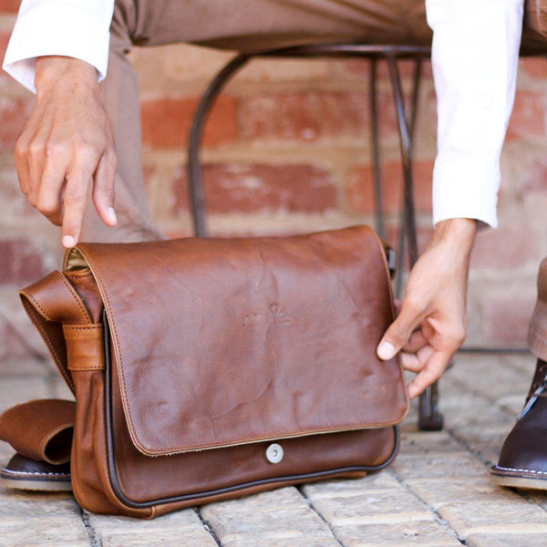 "Genuine Leather Messenger Laptop Bag -13 "" Laptop - Mirelle Leather & Lifestyle"