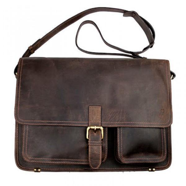 John Buck Genuine Leather Laptop bag - Brown - Mirelle Leather & Lifestyle