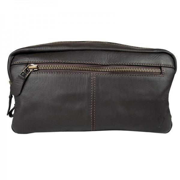 John Buck Genuine Leather Toiletry Bag - Brown - Mirelle Leather & Lifestyle