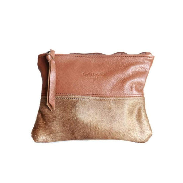Leather Pouch With Nguni - Terracotta - Mirelle Leather and Lifestyle