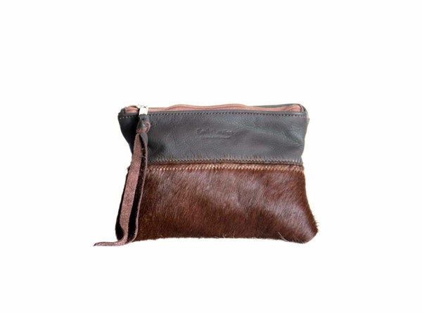 Leather Pouch With Nguni - Tobacco - Mirelle Leather and Lifestyle