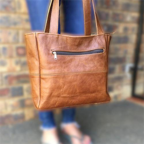 Mirelle Genuine Leather Classic Shopper Handbag With Outside Zip - Mirelle Leather and Lifestyle